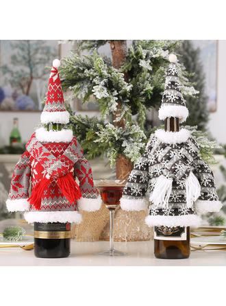 Feliz Navidad Tela Tapa de la botella