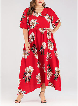 Print/Floral 1/2 Sleeves A-line Vacation/Plus Size Midi Dresses