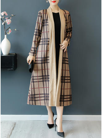 Polyester Long Sleeves Grid Trench Coats