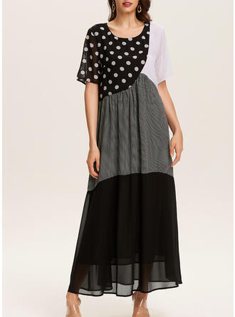 Print/Color Block/PolkaDot Short Sleeves Shift Casual Maxi Dresses