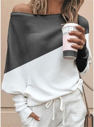 Color Block One-Shoulder Long Sleeves Casual Knit T-shirts