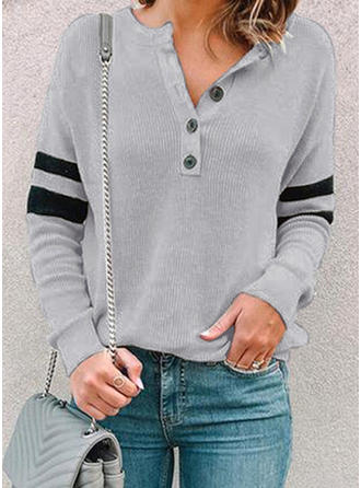 Solid Striped V-neck Long Sleeves Button Up Casual Blouses