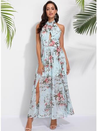 Εκτύπωση/Φλοράλ Αμάνικο Φαρδύ Κάτω Καθημερινό Μάξι Сукні
