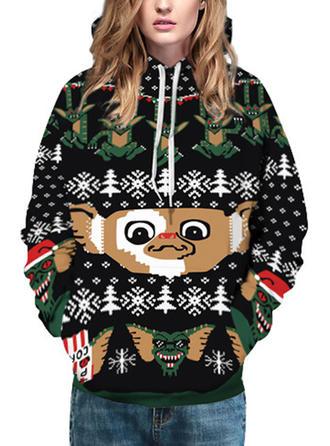 Polyester Drucken Damen Weihnachts-Sweatshirt