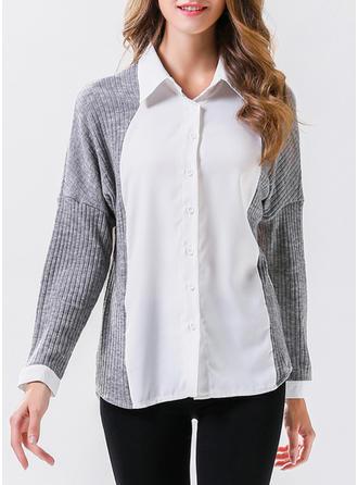 Cotton Lapel Patchwork Long Sleeves Button Up Blouses