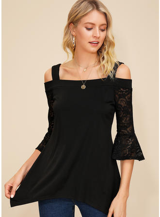 Solid Lace Cold Shoulder 3/4 Sleeves Casual Sexy Blouses