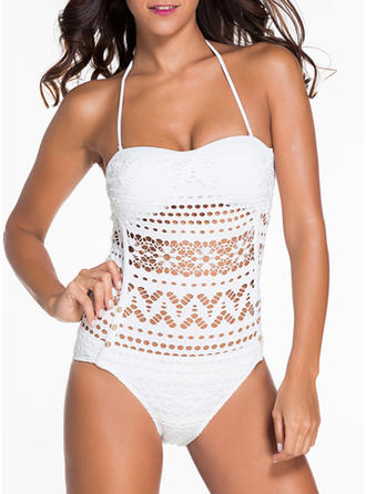 Sexy Solid Color Halter One-piece Swimsuit