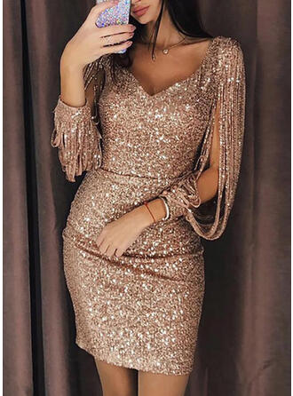Solid Long Sleeves Sheath Above Knee Sexy/Party Dresses