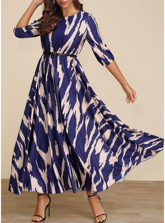 Druck 3/4 Ärmel A-Linien Maxi Freizeit/Elegant Kleider