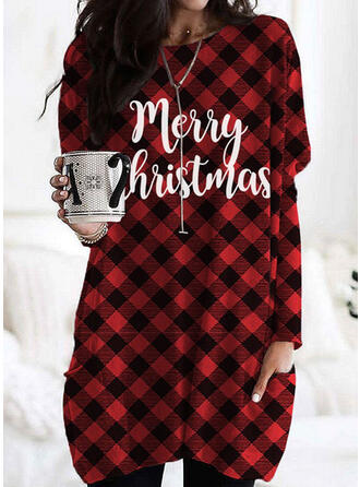 Grid Figure Round Neck Long Sleeves Christmas Sweatshirt
