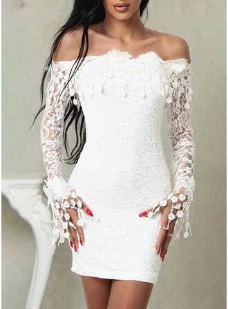Lace/Solid Long Sleeves Bodycon Above Knee Party/Elegant Dresses