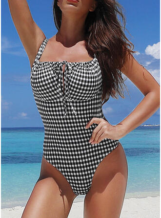 Plaid Drawstring Strap Sexy Elegant Beautiful One-piece Swimsuits