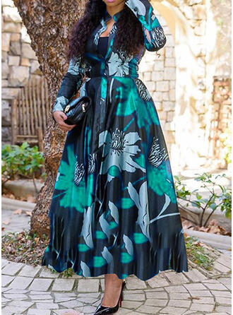 Print/Floral Long Sleeves A-line Vacation/Plus Size Midi Dresses