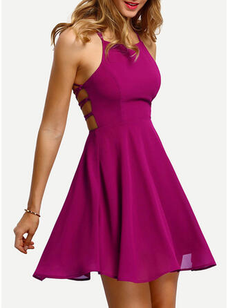Solid Sleeveless A-line Above Knee Sexy/Party Dresses