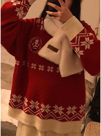 Coton Col rond Inmprimé Gros tricot Chandail de Noël moche