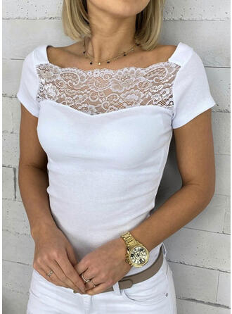 Solid Lace Square Collar Short Sleeves Casual T-shirts
