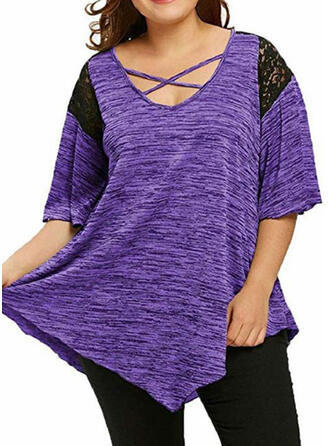 Solid Patchwork Lace V-Neck Flare Sleeve 3/4 Sleeves Casual Plus Size T-shirts
