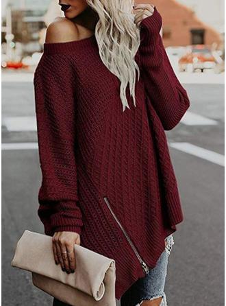 Plain Chunky knit Round Neck Sweater Dress