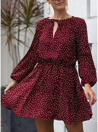 PolkaDot Long Sleeves A-line Above Knee Casual/Elegant Dresses