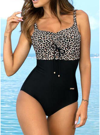 Floral Splice color High Cut Lace Up Animal Print Strap U-Neck Sexy Plus Size Eye-catching Retro One-piece Swimsuits