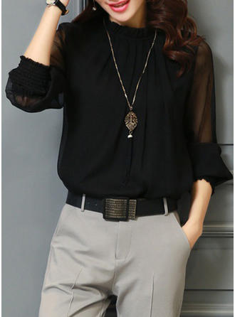Solid Stand-up Collar Long Sleeves Elegant Blouses
