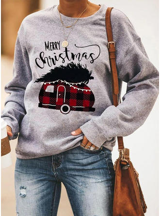 Print Round Neck Long Sleeves Christmas Blouses