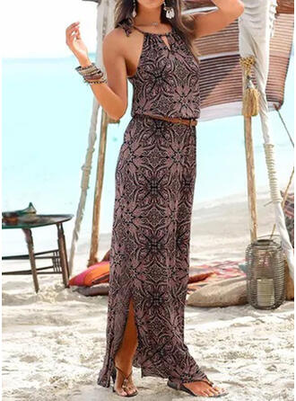 Sequins/Floral Sleeveless A-line Casual/Boho/Vacation Maxi Dresses