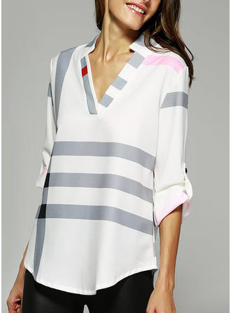 Cotton Blends V Neck Print Shirt Blouses