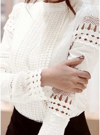 Solid Lace Stand collar Long Sleeves Casual Elegant Blouses