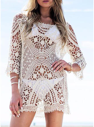 Solid Color Mesh Round Neck Sexy Boho Cover-ups Swimsuits