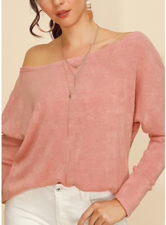 Solid One-Shoulder Long Sleeves Casual Sexy Knit Blouses