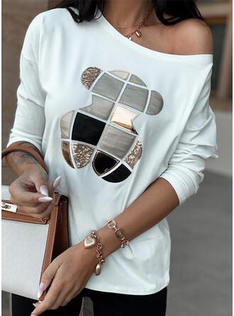 Nadruk cekiny Okrągły dekolt Długie rękawy T-shirty