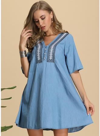 Embroidery/Solid 1/2 Sleeves Shift Above Knee Casual Dresses