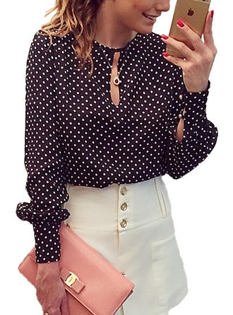PolkaDot Round Neck Long Sleeves Casual Elegant Blouses
