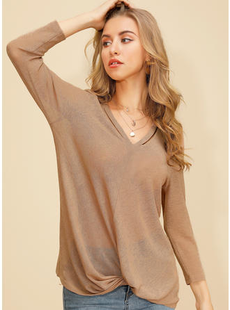 Solid Lapel Long Sleeves Casual Knit Blouses
