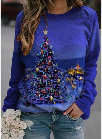 Nyomtatás Kerek nyak Hosszú ujjú Karácsonyi pulóver
