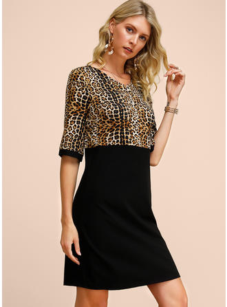 Animal Print 1/2 Sleeves Sheath Knee Length Casual/Party/Elegant Dresses