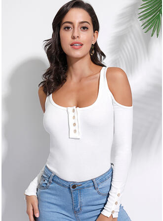 Solid Cold Shoulder Long Sleeves Button Up Casual Knit T-shirts