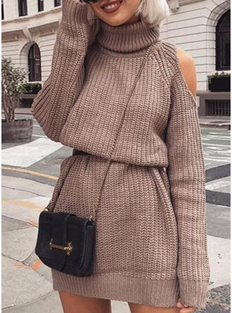 Solid Long Sleeves/Cold Shoulder Sleeve Sheath Above Knee Little Black/Casual Sweater Dresses