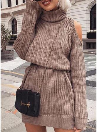 Jednolita Długie rękawy/Odkryte ramię Pokrowiec Nad kolana Mała czarna/Casual Sweter Sukienki