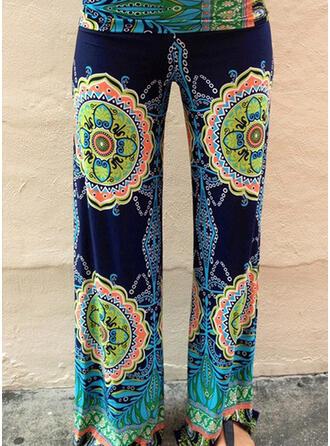 Impresión Largo Boho Casual Largo Impresión Pantalones