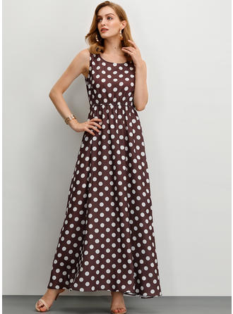 PolkaDot Sleeveless A-line Maxi Casual Dresses