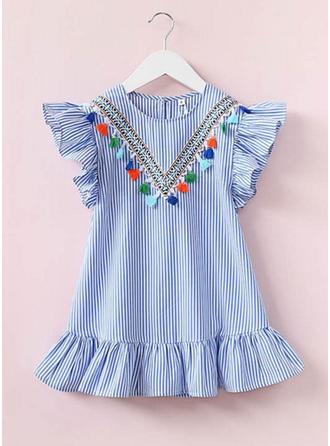 Girls Round Neck Ruffles Casual Cute Dress