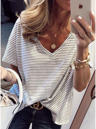 Striped V-Neck Short Sleeves Casual Knit T-shirt
