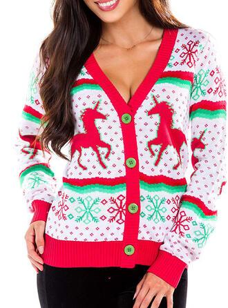 Frauen Polyester Tierdruckmuster Hässlicher Weihnachtsstrickjacke