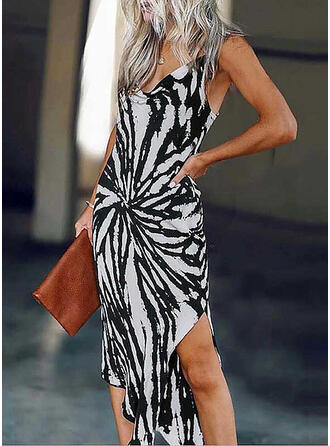 Print Sleeveless Sheath Asymmetrical Sexy/Party Dresses
