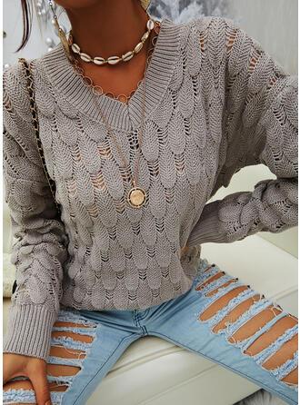 固体 Vネック カジュアル セーター