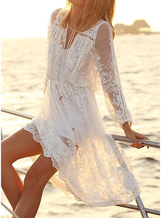 Lace/Solid Long Sleeves A-line Casual/Vacation Midi Dresses