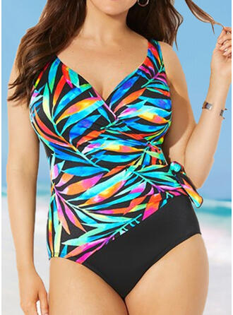 Leaves Print Strap V-Neck Bohemian Plus Size One-piece Swimsuits