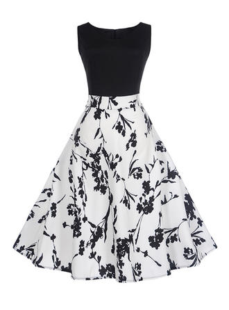 Print Sleeveless A-line Knee Length Vintage/Casual/Elegant Dresses